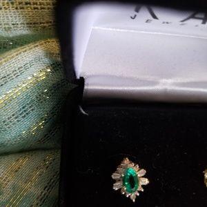 Kay Jewelers Jewelry - 10 k yellow gold lab emerald earrings.